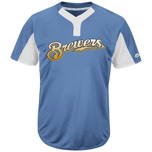 Majestic Blank Back Adult 2XL Milwaukee Brewers 2-Button Placket Cool-Base MLB Licensed Jersey