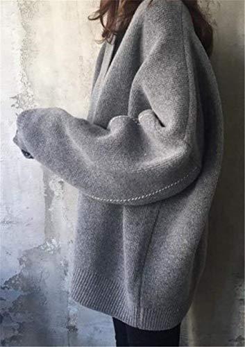 Fashion Abrigos Manga De Chaqueta Chaqueta Sólido Tejido Punto Grau Larga Ropa Otoño Outwear Informales Cuello Grande Un Color Abrigo Mujer Pecho Solo Saoye Invierno Termica V Anchas Talla Axd4A
