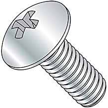 "Steel Truss Head Machine Screw, Zinc Plated Finish, Meets ASME B18.6.3, #3 Phillips Drive, 1/4""-20 Thread Size, 5"" Length, Fully Threaded, Imported (Pack of 300)"