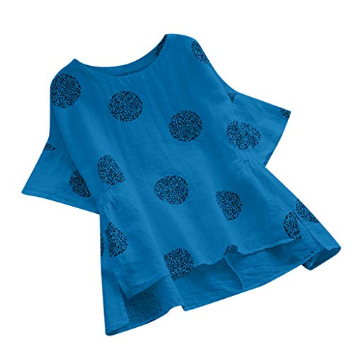 Londony ✡ Womens O Neck Loose Tunic Plue Size Tops Polka Dot Dresses Casual Short Sleeve Chiffon Top T-Shirt Blouse Blue