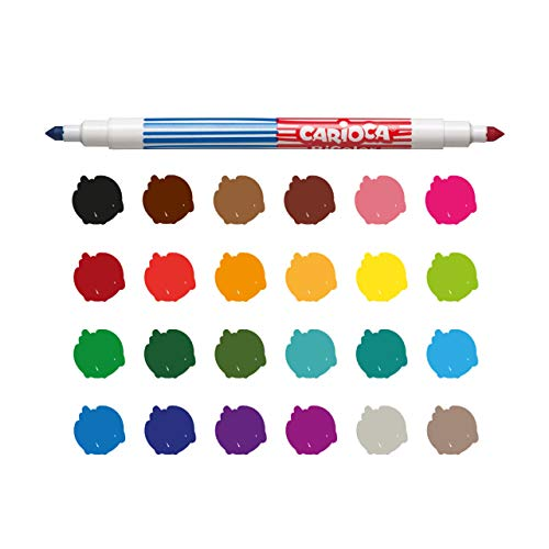 Luxor Carioca : Bi-Color Conical Dual Felt Tip with Washable Ink(Assorted color 12 pieces)