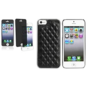 Quaroth CommonByte For iPhone 5 G 5th Gen Black Leather w/Silver Side Hard Case+Privacy Filter