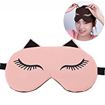 Cisixin Beauty Sleep Eye Mask, Cute Cartoon Blindfold with Gel Pad, Hot & Cold Therapy for Insomnia and Puffy Eyes, Eye Shade for Bedtime, Napping, Travel (Pink)
