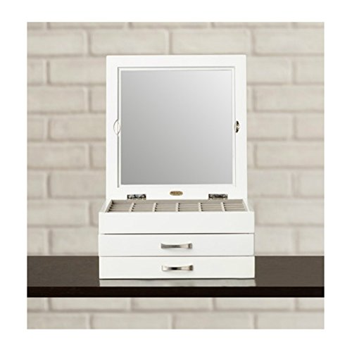 Elegant & Stylish White Wooden Jewelry Box with Glass Top For Bedroom Vanity Dresser - Gift For Her by Varick Gallery