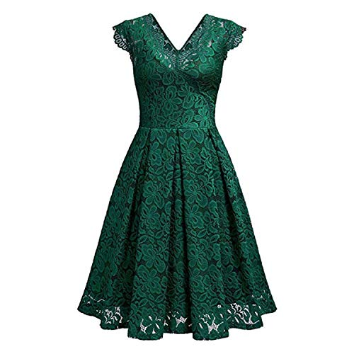 Women V-Neck Off Shoulder Lace Formal Evening Party Dress Sleeveless Dress Elegant Sexy Summer Sundress,Green,M -