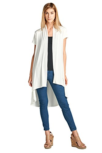 Long Open Front Soft Bamboo Cardigan Sweater for Women (S - 5XL) - Made in USA (Medium, Ivory 2)