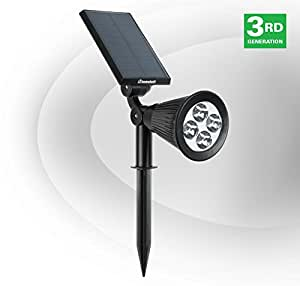 HumaBuilt Solar Power LED Garden Spotlight - Cool White 6500K - Outdoor Spot Light Great for Landscaping, Trees, Bushes, and Security - Ground/Wall Mount - 3rd Generation