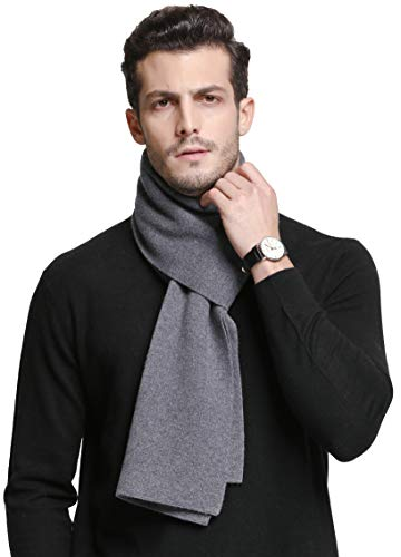RIONA Men's 100% Australian Merino Wool Scarf Knitted Soft Warm Neckwear with Gift Box(Light Grey)