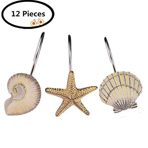 myonly 12 PCS Shower Curtain Hooks Resin Hooks Rustproof Stainless Steel Shower Curtain Rings Hooks for Bathroom Shower Rod Seashell Starfish Conch Shower Curtain Hooks (12 Pieces)