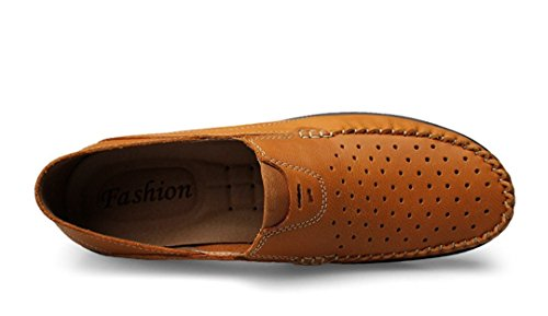 TDA Mens Fashion Breathable Perforated Leather Loafers Driving Dress Business Boat Shoes Light Brown Qz4Qm