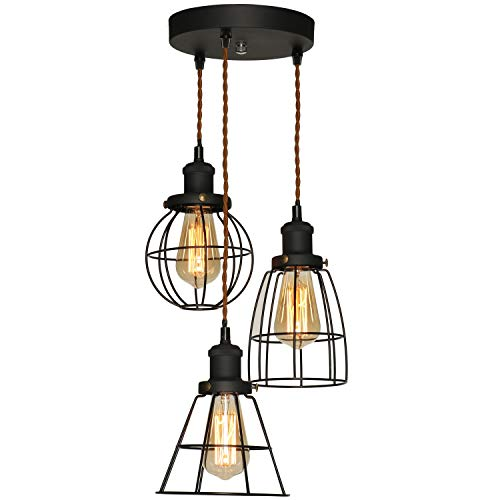 (XIDING Industrial Antique Kitchen Island 3-Lights Metal Wire Cage Pendant Chandelier Lighting Fixtures,Vintage Black Farmhouse Hanging Light 3 Sockets with Black Metal Cages)