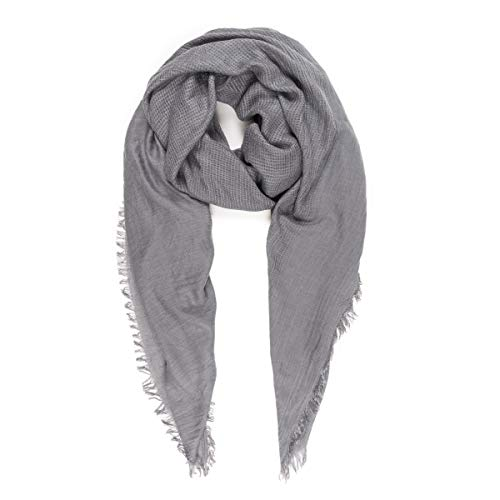 (Scarves for Women: Lightweight Solid color Fall Winter Fashion Scarf by MIMOSITO (Waffle Textured, Light Gray))