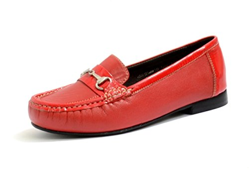 EASYB Women's and Ladies DB Easy b Diana Loafer With a Trim Detail In Black and Red Leather and Patent In Extra widefitting (EE-4E) (7 UK, Red/Red Patent)