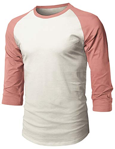 Ma Croix Men's Baseball Tee 3/4 Sleeve Raglan Casual Basic Plain T Shirts (Medium, 1hc08_Vintage White/Dusty Rose)