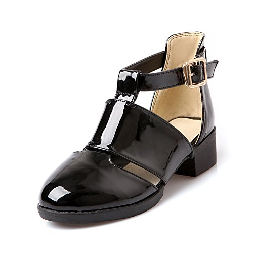 AmoonyFashion Womens Closed Round Toe Low Heel Patent Leather PU Solid Sandals with Metal Buckles Black YPqGw6N