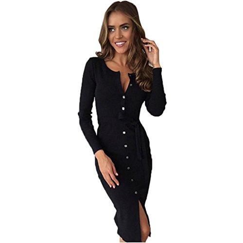 Women Midi Dress Plunge V Neck Bandage Belt Solid Color Long Sleeve - 1