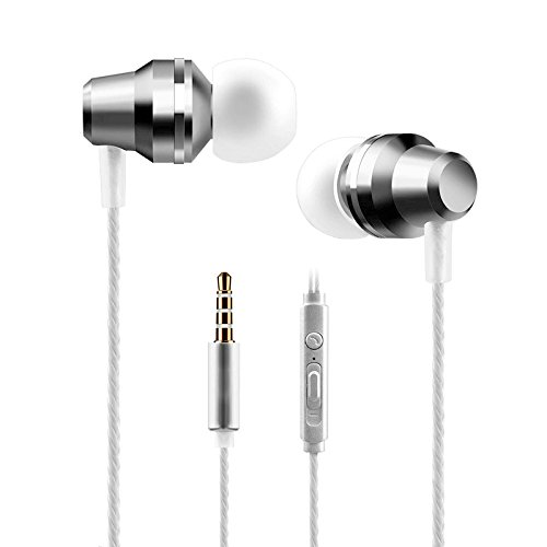 Josi Minea 3.5mm Premium HD Headphones - Stereo Earphone Headset with Volume, Play/Pause Controller & Built-in Microphone [ Silver - Stereo Headset Silver Nokia