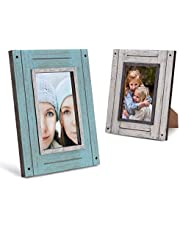 4x6 Picture Frames Set of 2 Distressed Wood - Turquoise and White - Table Top & Wall Mount Photo Frame Sets for Office Kitchen Gallery - Rustic Home Decor Picture Frame