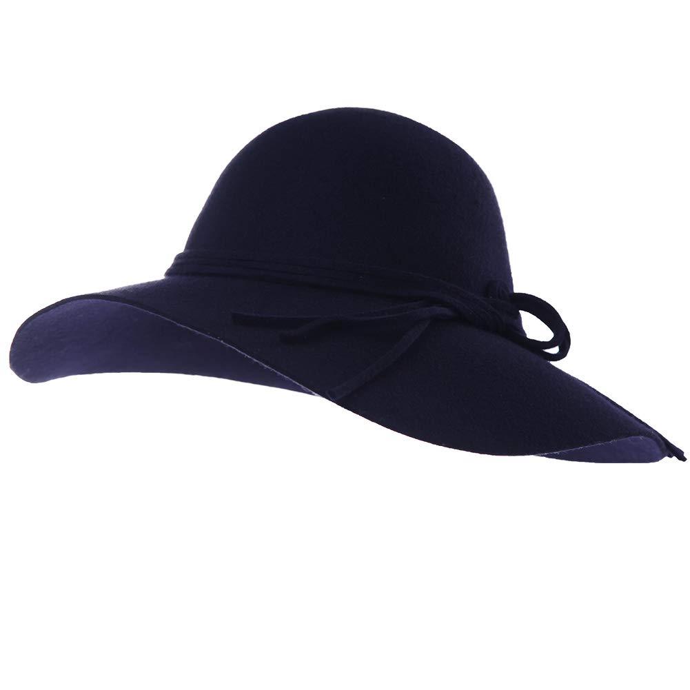a95fb61d1d3196 Jeff & Aimy 100% Wool Felt Pork Pie Hat Women Winter Fedora Party Derby Hats  with Brim Church Top Stylish Blue