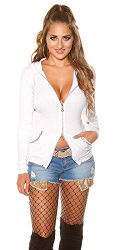 KouCla Cardigan Strickjacke - Mit Kapuze u. 2 Way Zipp Pullover Strass One Size (Creme)