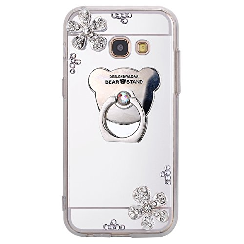 Mica Bear (Samsung A7 2017 Case,ihreesy Mirror bear ring flower diamond soft shell Clear Mirror Slim Fit Protection Case-Silver)