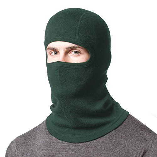 Minus33 Merino Wool Clothing Unisex Midweight Wool Balaclava, Forest Green, One Size