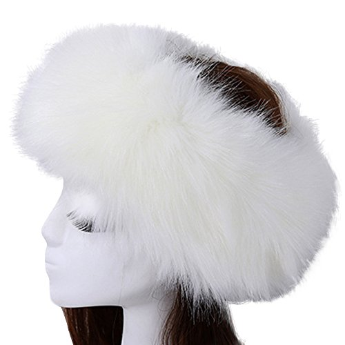 de4830311df Vandot Faux Fur Headband Women Ladies Girls Winter Warm Luxury Ski Head Ear  Warmer Earmuff Ski Hat Pompom Hair Band Scarf Neck Warmer Neckerchief -  White