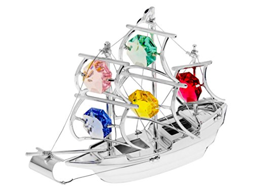 - The Mayflower Tall Ship Silver Plated Metal Figurine with Multi Color Spectra Crystals by Swarovski