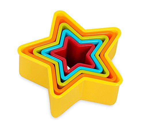 Internet's Best Star Cookie Cutter | Set of 5 | Star Shaped Biscuit Sandwich Fondant Cutter Set | Multi Size and Color | Kid -