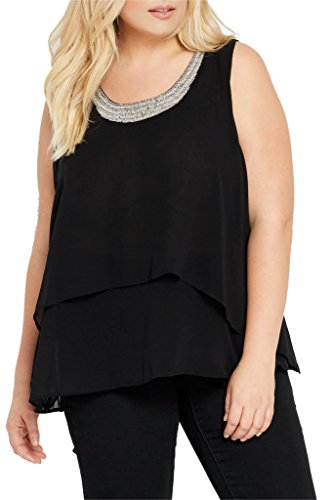 Womens Fashion Beaded Chiffon Tiered Blouse Tank Top (Plus Size) BK 1XL Beaded Chiffon Tank