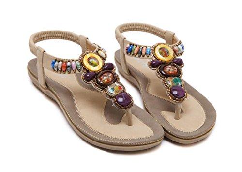 Apricot DANDANJIE Summer Noir extérieure Sandales Sweet Bohemia de Amande Femmes Mode Sandals pour Rose Strass Strass en Chaussures fqf4HwxTr