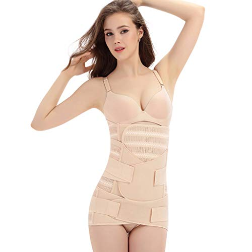 MTENG 3 in 1 Postpartum Recovery Belly Waist Pelvis Belt Post Surgery Shapewear(Khaki,L)