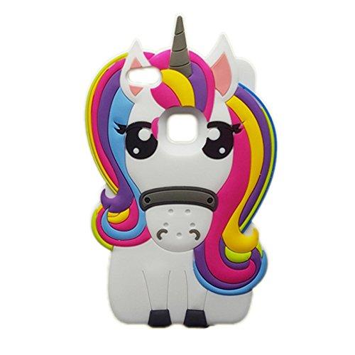 Unicorn Funda para móvil Huawei P10, P9lite G8G7Plus, minzycase 3d Dibujos Animados Unicorn Cute arco iris caballo...