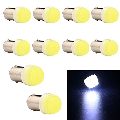 EverBright 10-Pack White BA9 BA9S 53 57 1895 64111 T4W H6W Ceramic SMD 1W LED Replacement for Car License Plate Light Bulb Side Door Courtesy Door Lamp Interior Map Lights DC12V ()