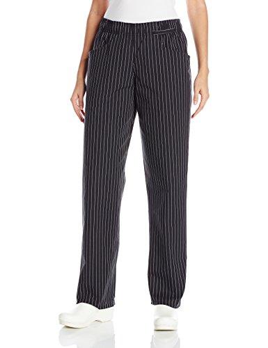Uncommon Threads Women's Fit Chef Pant, Black/White Pinstripe, Medium