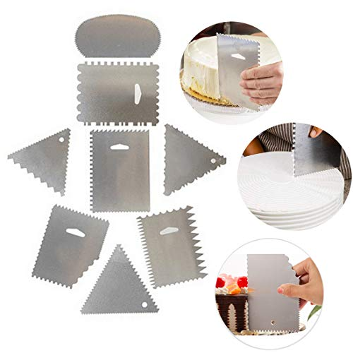 - Cake Scraper Buttercream Side Smoother Icing Comb Polisher Pattern Stainless Steel Decorating Edge DIY Tool Mousse Cream Butter Sugarcraft Pack of 8
