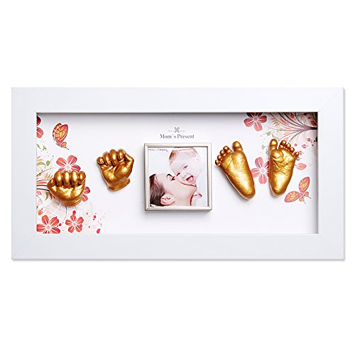 MomsPresent Baby Hands and Feet Casting Print Deluxe KIT with White Frame (Gold) by Moms Present