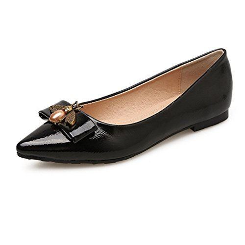 Giy Mode Mocassins Plat Mocassin Bout Pointu Toe Slip-on Abeilles Robe En Cuir Mocassin Chaussures Oxford Noir