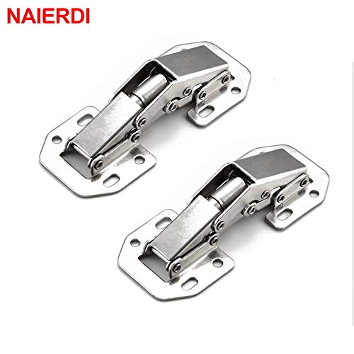 (Cabinet Hinges | 90 Degree 3 Inch No|Drilling Hole Cabinet Hinge Bridge Shaped Spring Full Overlay Cupboard Door Hinges with Screws | by SOMITI)