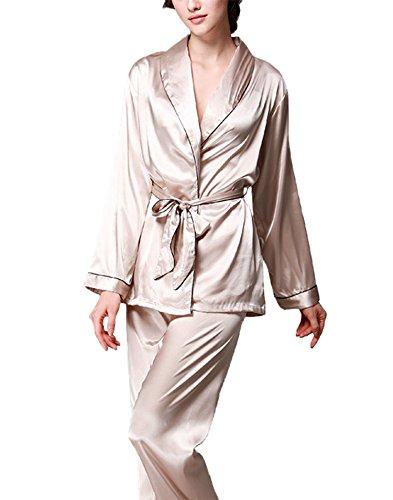 donna Asskyus Chiaro cintura pantaloni di donna Marrone Pigiama raso da lunghe maniche Set da Top con e rCar7xwq