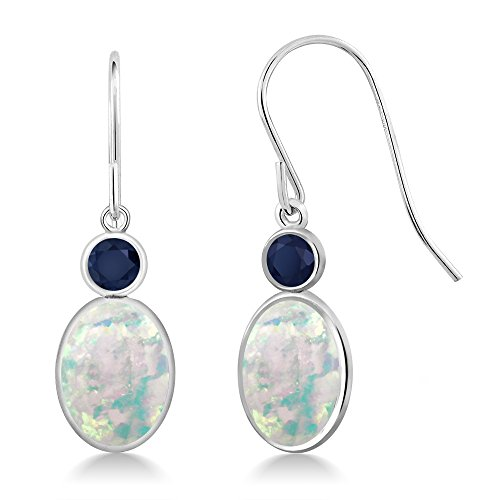 Gem Stone King 2.36 Ct Oval Cabochon White Simulated Opal Blue Sapphire 14K White Gold Earrings