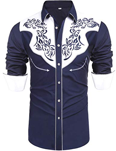 Daupanzees Men's Long Sleeve Embroidered Shirt Slim Fit Cattleman Western Shirt Casual Button Down Shirts(Navy Blue L)