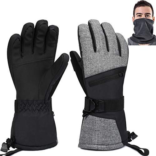 Waterproof Ski Gloves for Men Women, Winter Warm Cozy 3M Thinsulate Snowboard Gloves with Breathable Neck Warmer for Skiing, Snowboarding, Shoveling & Outdoor Sports, with Pocket & Wrist Leashes