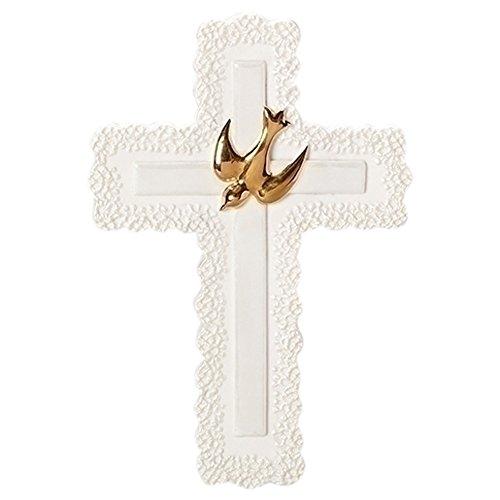 d Tone Dove Ivory Lace Detail 4 x 7 Porcelain Wall Cross ()