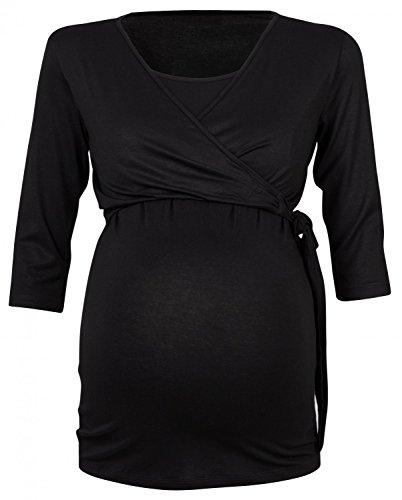 Happy Mama Para Mujer Camiseta premamá y de lactancia. 458p Negro