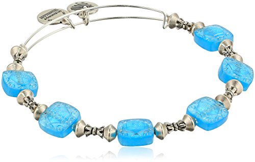 (Alex and Ani Women's Square Halo Ocean Bangle Bracelet, Rafaelian Silver, Expandable)