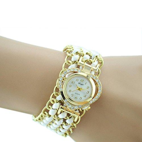 BCDshop Women Rope Braid Bracelet Wrist Watch Fashion Luxury Crysal Wristband Watch (White, Alloy) from BCDshop