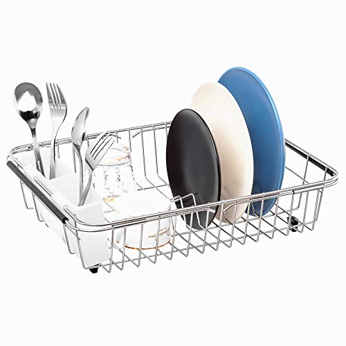 (iPEGTOP Expandable Dish Drying Rack, Over the Sink, In Sink Or On Counter Dish Drainer with White Removable Utensil Holder, Rustproof Stainless Steel)