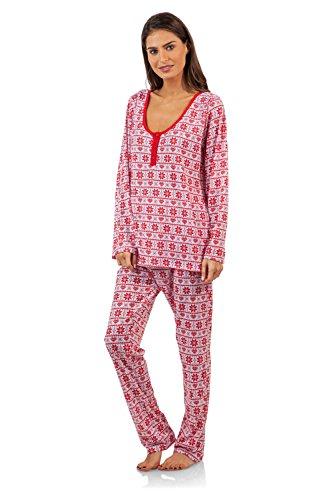 (BHPJ By Bedhead Pajamas Women's Soft Knit Henley Shirt Pajama Set - Red Fair Isle B -)