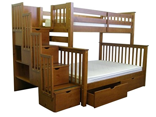 Bedz King Stairway Bunk Bed Twin over Full with 4 Drawers in the Steps and 2 Under Bed Drawers, Espresso